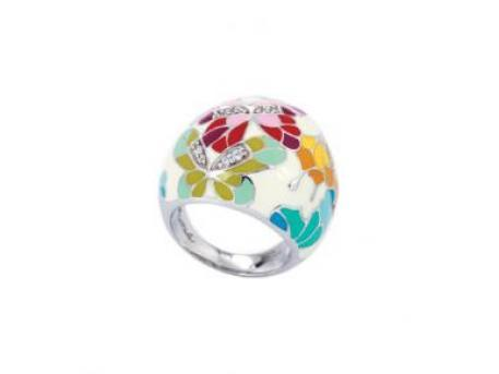 Butterfly Kisses White - Belle Etoile White Enamel CZ Ring