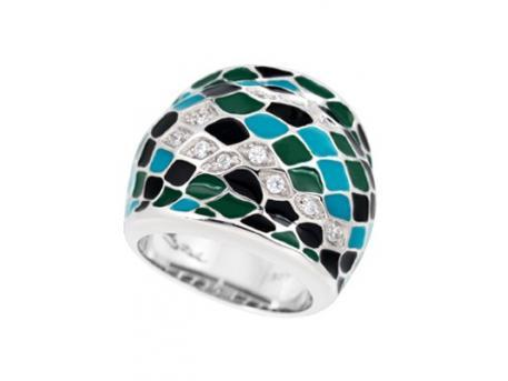Snakeskin Teal Ring - Belle Etoile Teal Enamel and CZ Ring
