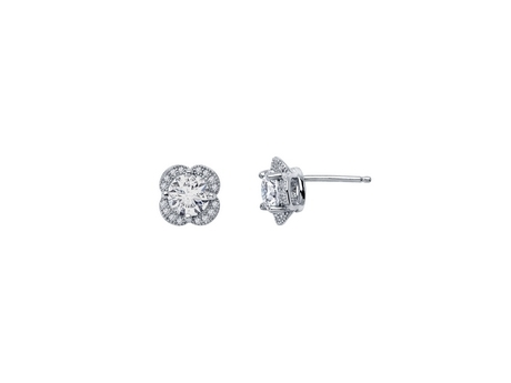 Sterling and CZ Quatrefoil Earrings - Sterling Silver and CZ Quatrefoil Stud Earrings.  Matching Pendant Available.