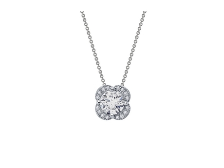Sterling and CZ Quatrefoil Pendant - Sterling Silver and CZ Quatrefoil Pendant.  Matching Earrings Available.