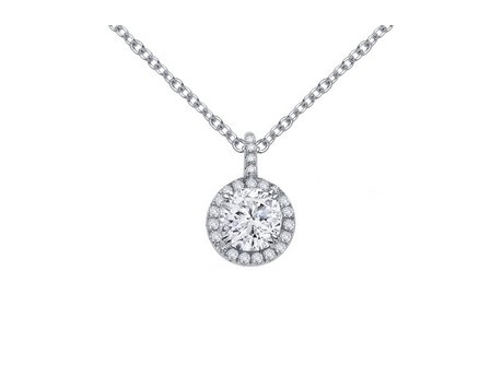 "Sterling and Round Halo CZ Pendant - Sterling Silver and CZ Round Halo Pendant with 16"" + 2"" chain"